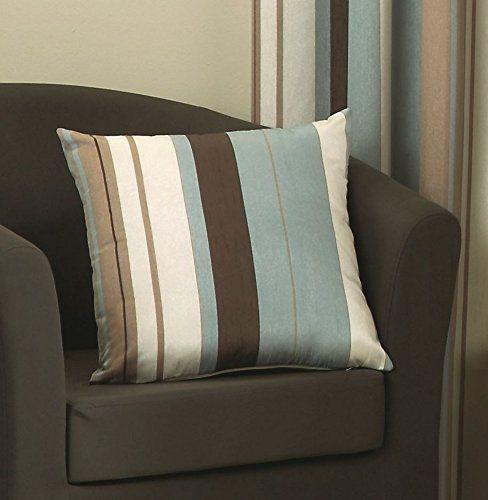 "Wilson Striped Cushion Covers One Pair 17"" x 17"" Duck Egg Blue Chocolate Brown Ivory Cream Beige Hallways ®: Amazon.co.uk: Kitchen & Home"