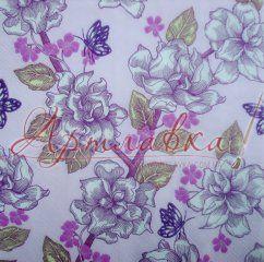 Декупажная салфетка Цветочный фиолетовый узор, 33*33см
