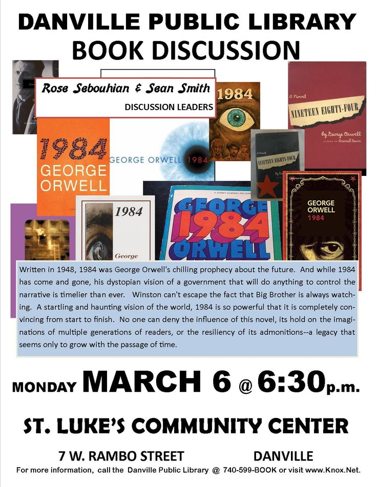 Danville Public Library adult book discussion. George Orwell 1984