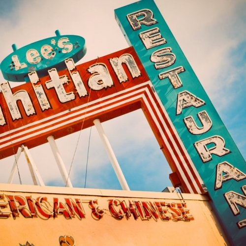 Lee\'s Tahitian Restaurant Red And Teal Neon Sign