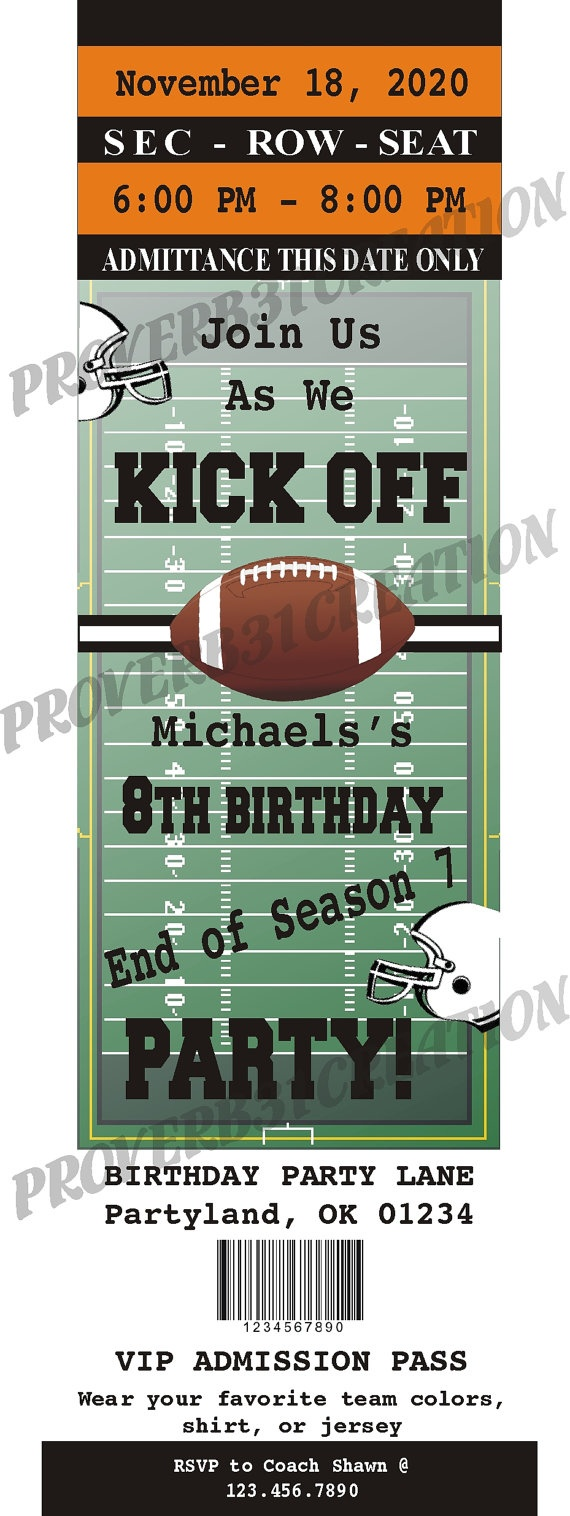 Printable Football Ticket Invitation DIY for by Proverb31Creation, $8.00