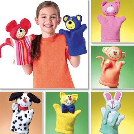 PUPPET Sewing Pattern - Animal Hand Puppets - Bear Pig Bunny Cat Mouse