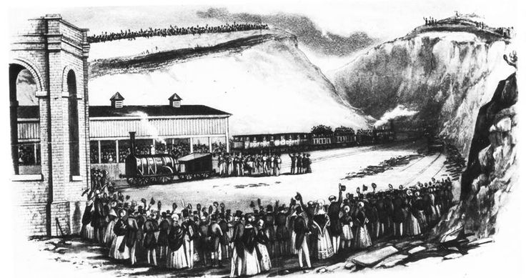 The opening of Brighton Station Circa 1840 (Print from The Brighton Herald). Note the crowds, high up on what would now be Terminus Road.