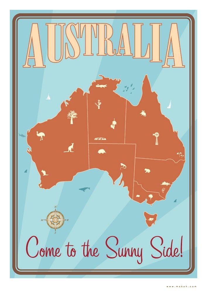 Vintage Australia Poster #Travel  #Poster #Vintage