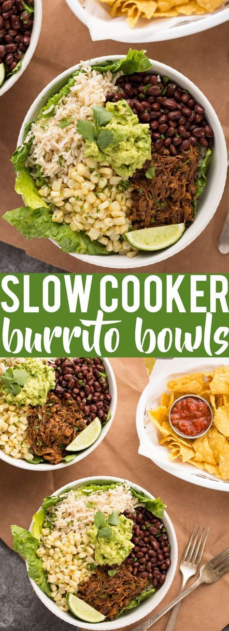 These Slow Cooker Beef Burrito Bowls are a delicious and easy make ahead meal. All ingredients can be prepared ahead of time and putting the burrito bowls together just takes a few minutes. Just like your favorite Chipotle burrito bowl, but better! Gluten