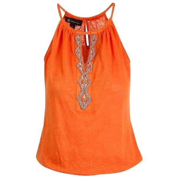 INC International Concepts Indian Top Orange (5.350 HUF) ❤ liked on Polyvore featuring tops, orange cami, beaded cami, inc international concepts, camisole tops and orange sleeveless top