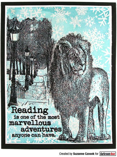 Card by Suzanne Czosek using Darkroom Door Snowflakes Background Stamp, Wild Africa Vol 2, Montmartre and Bookworm Rubber Stamp Sets