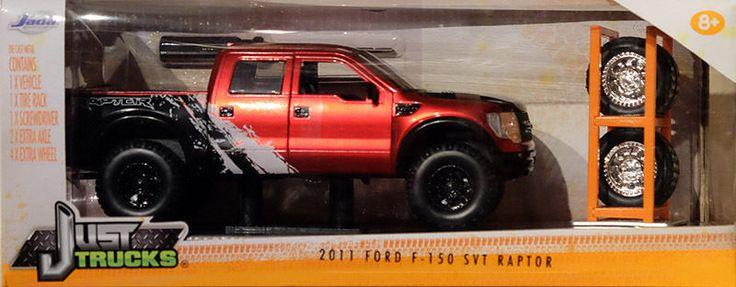 2011 Ford F-150 SVT Raptor Satz Reifen & Felgen rot schwarz 1:24 Jada Toys…