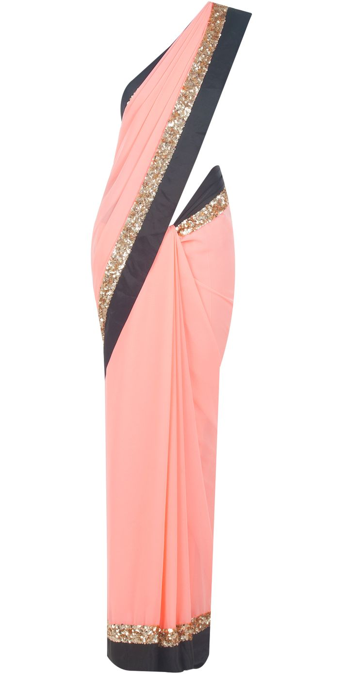 Pink sari with gold sequinned and black satin border by ATSU. Shop at http://www.perniaspopupshop.com/designers-1/atsu/atsu-7332