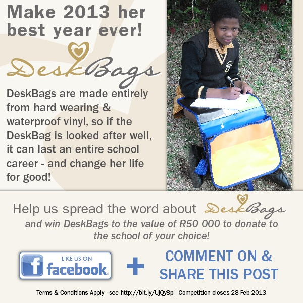 Make 2013 her best year ever!  DeskBags are made entirely from hard wearing & waterproof vinyl, so if the DeskBag is looked after well, it can last an entire school career - and change her life for good!