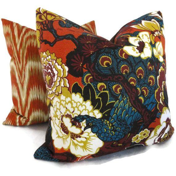 Schumacher Cinnabar Shanghai Peacock Decorative Pillow