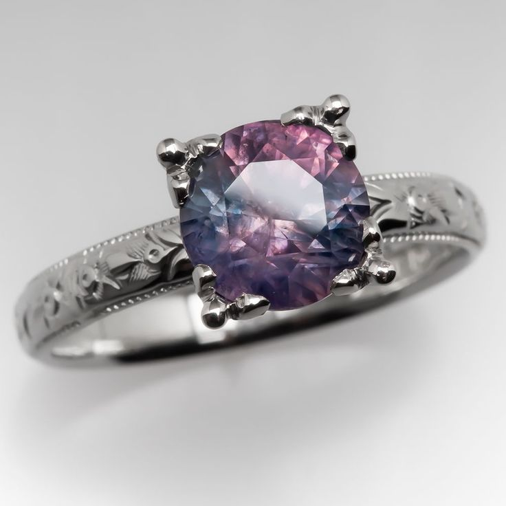 Pink Blue Montana Sapphire Ring in Antique Engraved Band