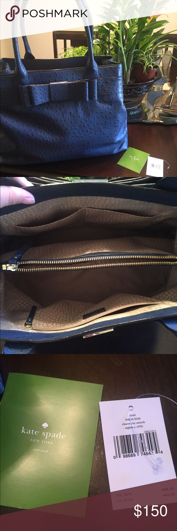 Beautiful Kate Spade ♠️ Shoulder bag Large Kate Spade Ostrich Diehl Purse/Shoulder – Ostrich color. Only wore 3 times No signs of wear very beautiful and spacious enough to fit your laptop! Price is negotiable only through the offer option. kate spade Bags Shoulder Bags