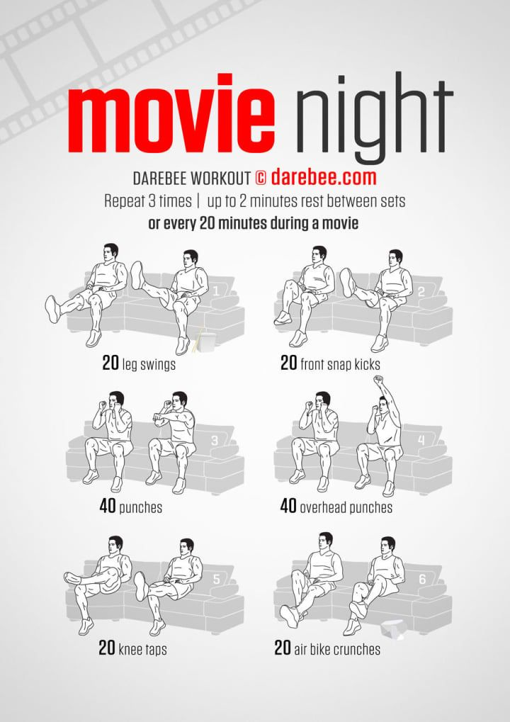 Why would you ever stop watching TV to exercise? You woudn't. From Darebee.