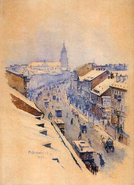 Władysław Podkowiński - Ulica Nowy Świat w Warszawie w dzień zimowy, 1892