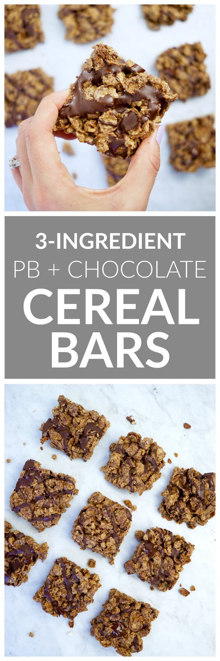 3-Ingredient Peanut Butter Chocolate Cereal Bars - made with three simple ingredients: whole grain cereal, peanut butter + a hint of maple syrup. A great healthy dessert for kids + adults alike!