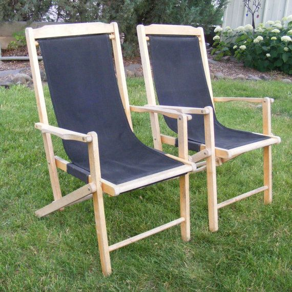 Vintage Sling Chair Wooden Folding Chair Canvas Sling Deck Chair More Woode