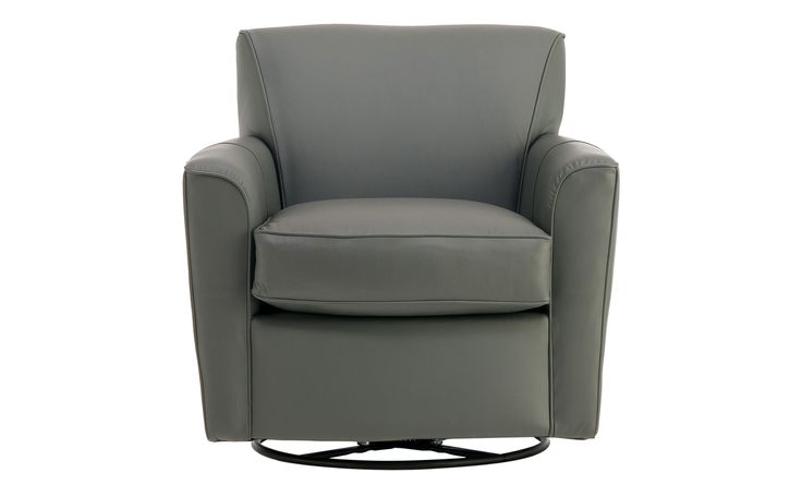 Swivel Gliding Chair with leather gray exterior! - Kingman Swivel Chair