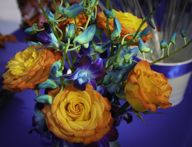 orange roses and blue died orchids | The Wedding! | Pinterest