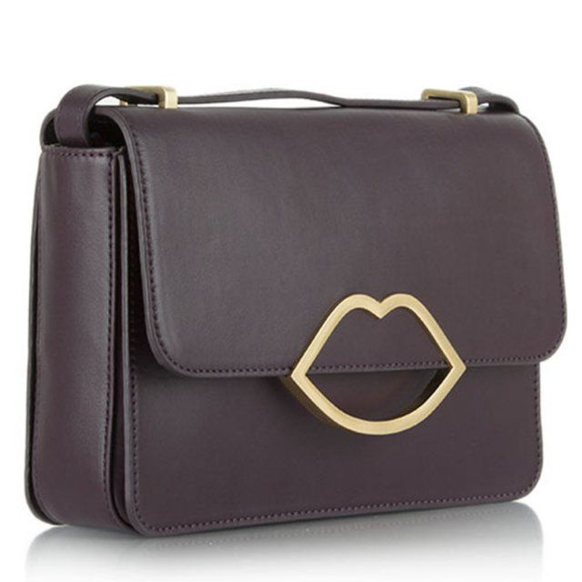 Lulu Guinness Burgundy Leather Medium Edie Messenger Bag