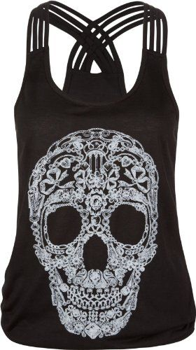 Amazon.com: FULL TILT Skull Quadruple Strap Womens Tank: Clothing