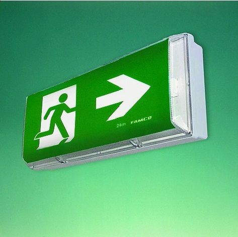 FAMCO F9938W 10W Fluorescent IP65 Weatherproof Single Sided Surface Mounted Exit.