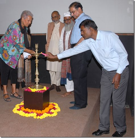 Jenuarrie, Aboriginal designer from Cairns helps light the lamp for the inauguration of Make it New Again: Models for Innovation in Traditional Craft conference at the National Institute of Design, Ahmedabad. Invitation from Dr. Kevin Murray,The Australia India Design Platform (wonderful ambassador and advocate for our Australian crafts makers)