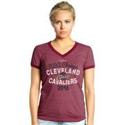 Women's Cleveland Cavaliers Majestic Threads Burgundy 2016 NBA Finals Champions Ringer V-Neck T-Shirt