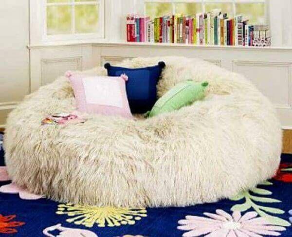 Furlicious Ivory Faux Fur Bean Bag Chair Slipcover | Bean