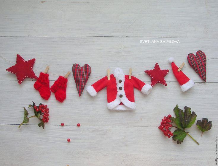 Купить Гирлянда новогодняя САНТА КЛАУС - ярко-красный, гирлянда, гирлянда для фотосессии, гирлянда новогодняя
