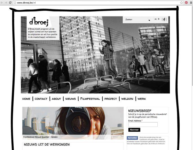 Grote foto op homepage 'Geschreven' font voor knoppen Horizontaal beeld (in de kijker?) Ruimte voor CTA nieuwsbrief en social plugin www.dbroej.be