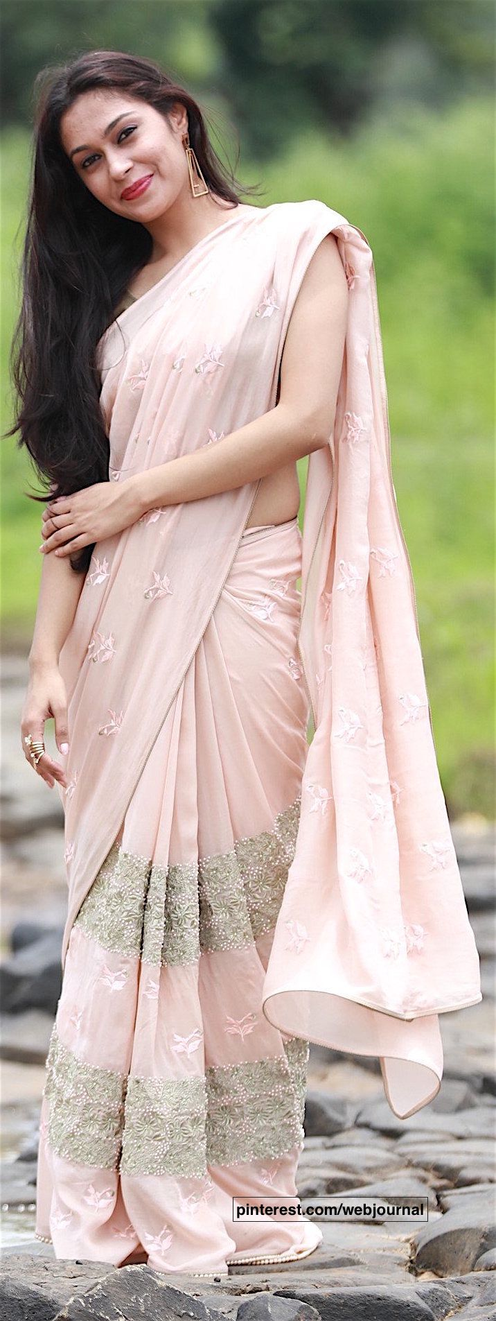 pearl embroidered pure silk chiffon saree from eastandgrace.com