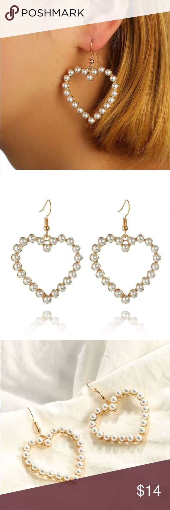 New Item✨ Pearl Heart Earrings ❤️✨ ✨ Fashion Jewelry ✨ Alloy, Gold Plated, Synthetic Pearls  ✨ Very cute & Stylish    Brand New✨ PRICE IS FIRM If you want to save please look into bundling  In Stock No Trades NO HOLDS  Will ship within 24- 48 hours Monday-Friday (Friday orders will ship on the following business day)   Please -NO- Offers on items priced $10 and under AND ON SALE ITEMS‼️  Serious Inquiries Only❣️  Bundle one or more items from my boutique to only pay one shipp