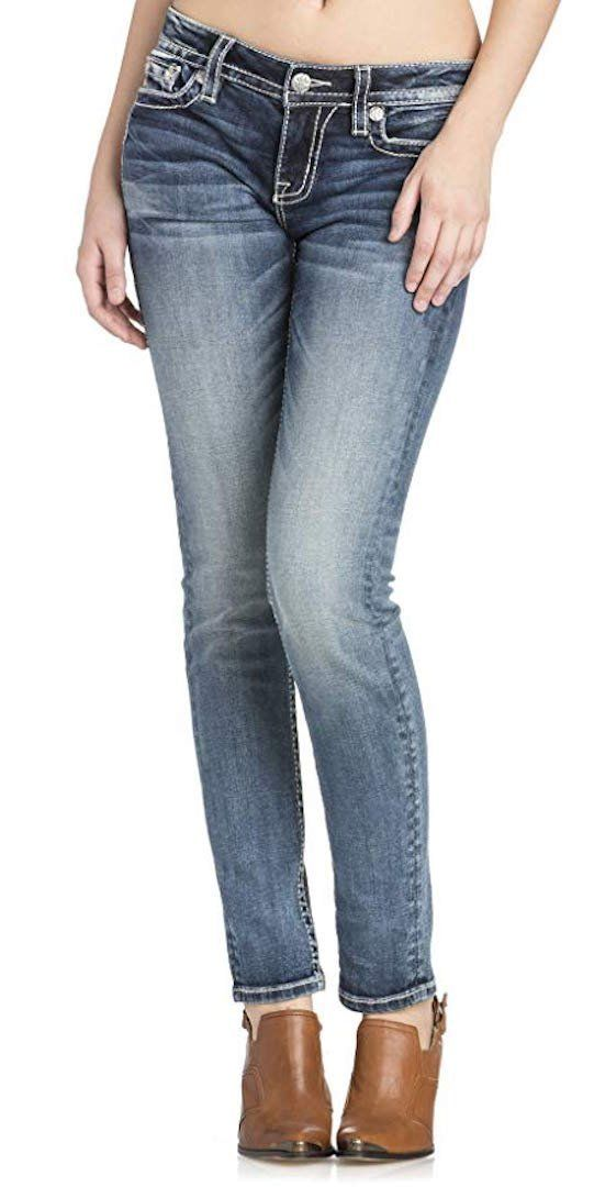 d9cdaf9061375 Miss Me Womens Hailey Pearl and Leaf Motif Embellished Pocket MidRise Skinny  Jeans Medium Blue 28     You can get additional details at the image link.