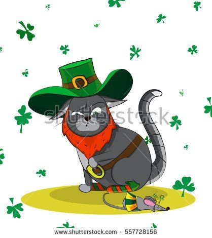 Squeamish Cat dressed as a leprechaun and a mouse in a carnival costume. Poster St. Patrick's Day