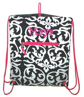 Free #Monogram #Personalized Small and Light weight great for #School #Cinch #Sack #Backpack #Damask #Embroidery.