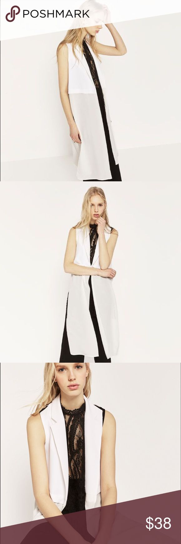 Zara Long Waistcoat Zara long combined waistcoat in white. Size Small. Worn once ❤❤ Zara Jackets & Coats
