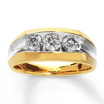 Three diamonds line this bold yellow gold wedding band that he is sure to  love 147 best Men s Wedding Bands images on Pinterest   Men wedding  . Kay Jewelers Mens Wedding Bands. Home Design Ideas