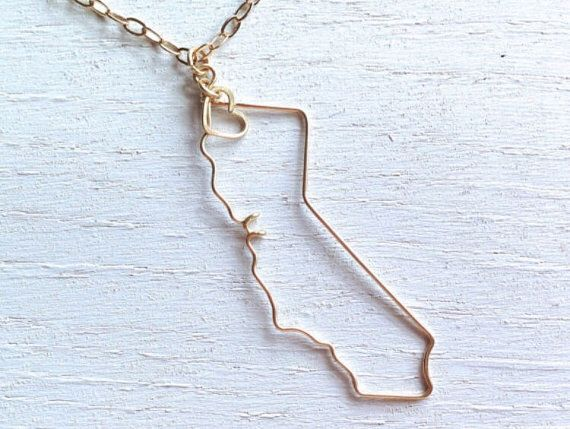 California Necklace California State Necklace State by theFolk