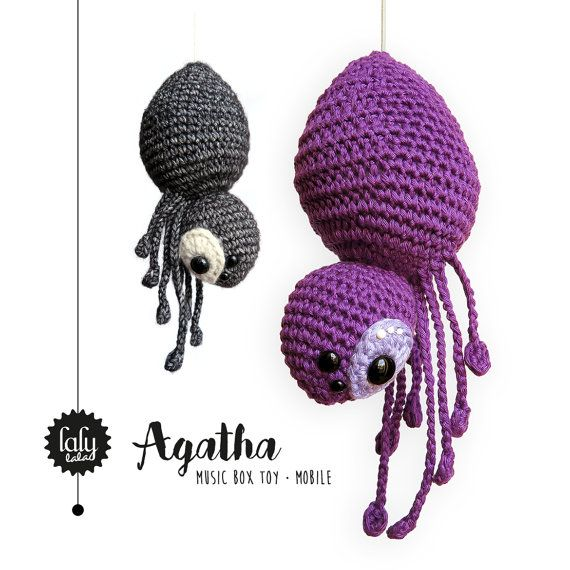 spider AGATHA music box toy mobile baby rattle door lalylala