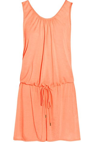 Add Heidi Klein's 'Bermuda' dress to your warm-weather wardrobe. Cut from lightweight, breathable peach voile, it has braided trims and a drawstring waist to cinch the relaxed fit. Wear yours with sandals when exploring local markets on vacation.
