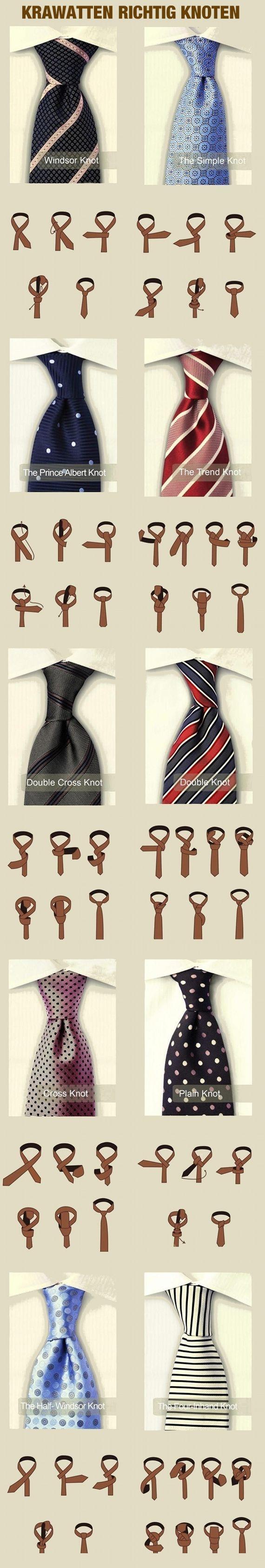 Während einer Veranstaltung das Outfit ändern? Einfach diese #Infografik zu #Krawattenknoten ausdrucken und hinten an die Krawatte kleben!