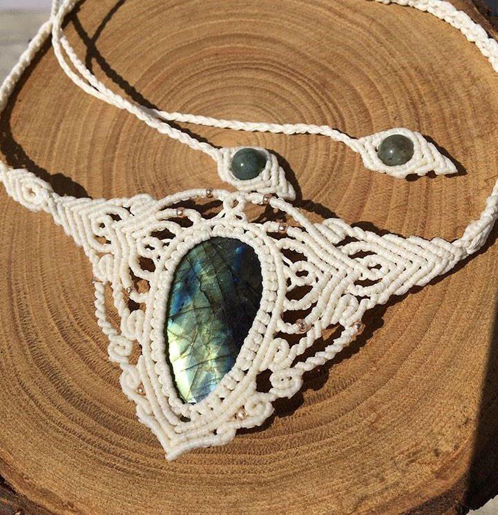 #macrame #necklace #labradorite #bohem