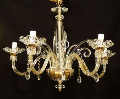 CHANDELIER WITH 5 LIGHT IN CRYSTAL GLASS GOLD COLLECTION GIULIA
