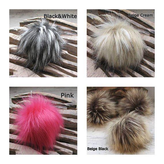 Faux  Fur Pom Poms   Long fur. Large Detachable pom pom
