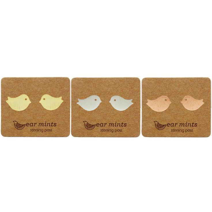 Fabienne - Sitting Birds Ear Mints - Stud Earrings
