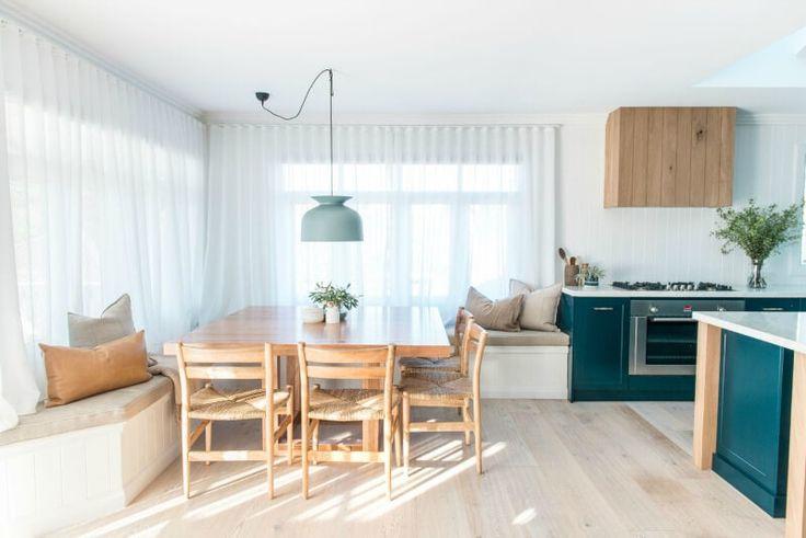kyal and kara renovation dining room with blonde timber furniture