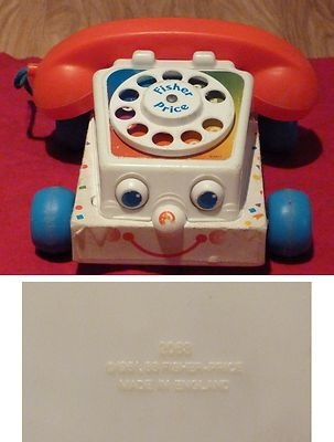VINTAGE ANCIEN JOUET FISHER PRICE TELEPHONE PHONE 1961 (16x16cm) 2063 UK