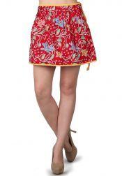TRE Batik  TRE Batik Short Skirt With Belt And Rample Red