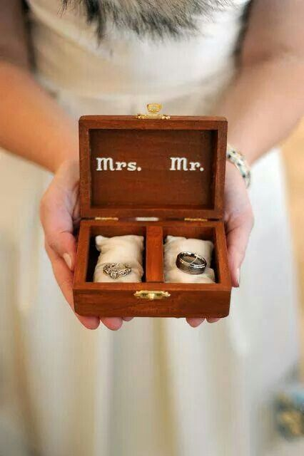 Cute ring box up-cycled from wooden card box for ring bearer